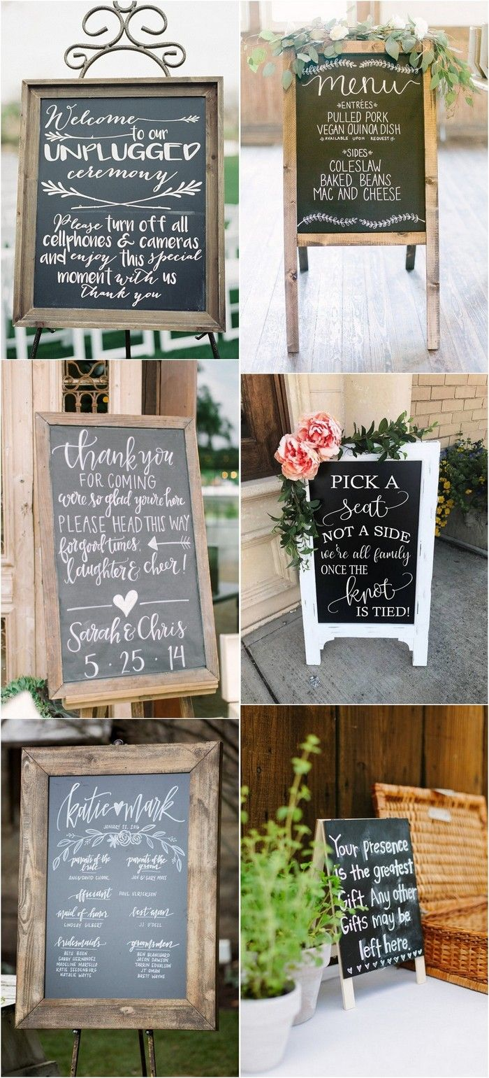 rustic chalkboard wedding sign ideas #weddingsigns #weddingdecor #rusticwedding