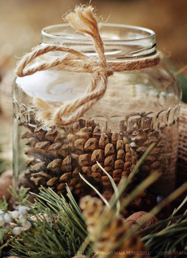 pinecones in glass jar