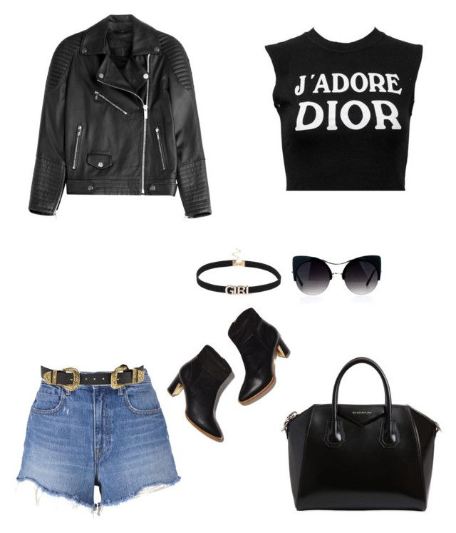 """""""Black🖤"""" by parisianights on Polyvore featuring moda, T By Alexander Wang, B-Low the Belt, Christian Dior, Karl Lagerfeld ve Givenchy"""