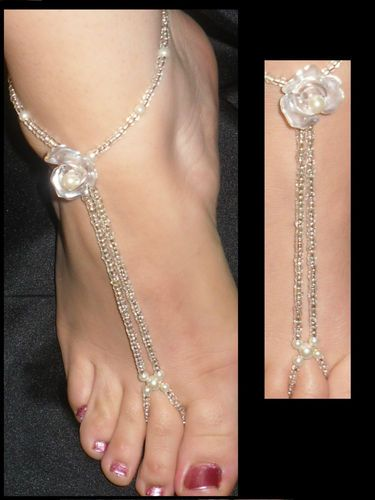 HAND MADE BRIDAL FAUX PEARL BAREFOOT SANDAL BEACH JEWELLERY ANKLET FOOT THONG