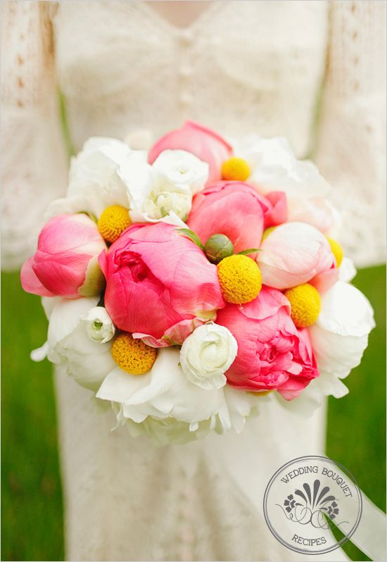 {Wedding Bouquet Recipes | Peonies and Billy Ball Bouquet} Gorgeous!