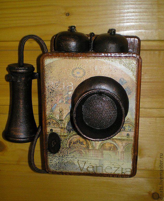 "Ключница-ретро телефон ""Venezia..."" - ключница,Ключница декупаж,ключницы"