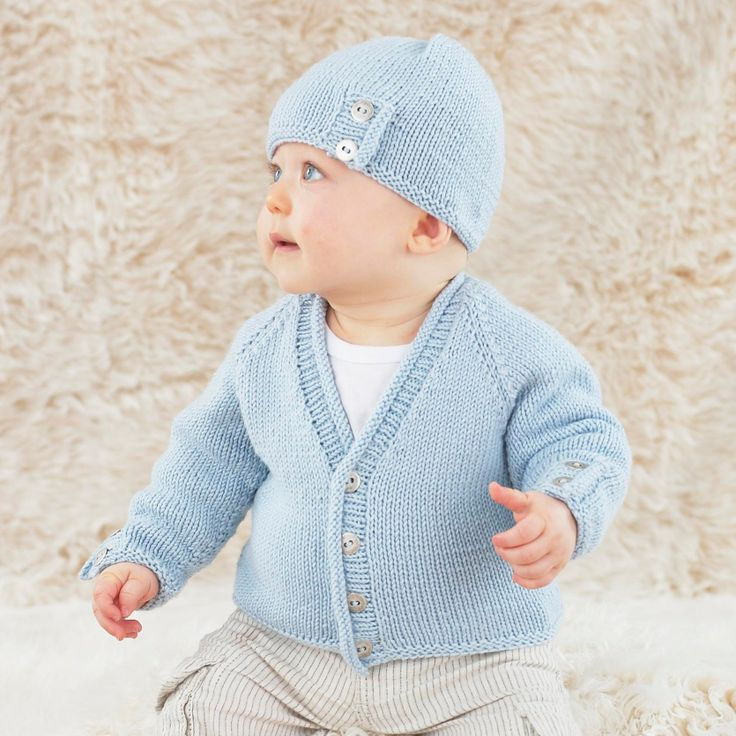 The Little Roly Hat and cardie - for baby boys in Sublime baby cashmere merino silk dk. The softest hand knits imaginable.