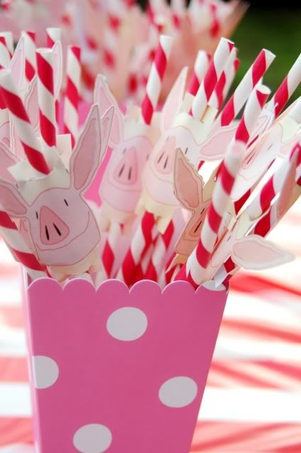 Olivia the Pig Party - you can find the printables for th piggies on nickjr.com