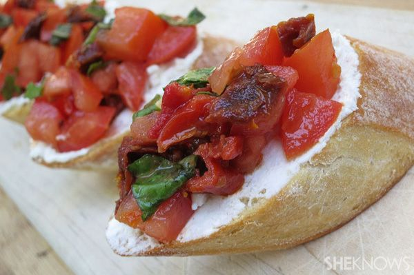 The perfect red and white Canada Day appetizer -- Sun-dried tomato with goat cheese bruschetta