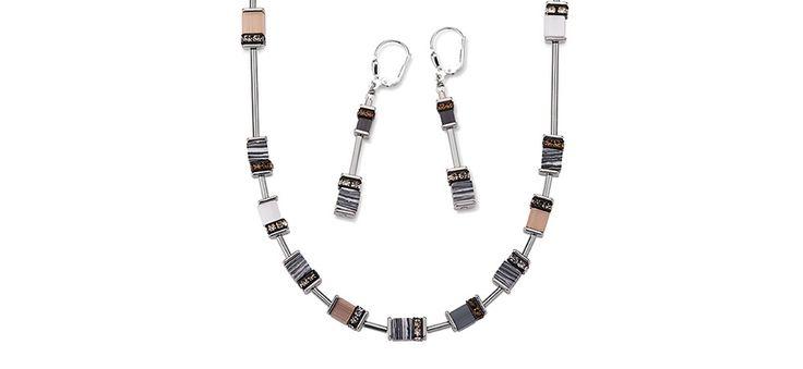Geo Cube malachite neutral long necklace and earrings 4795_1210 – coeur de lion jewellery