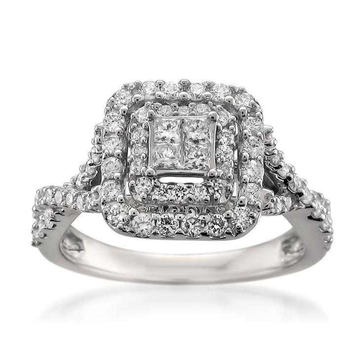 14k White Gold Princess-cut & Round Diamond Invisible-Set Engagement Wedding Ring (1 cttw, H-I, SI2-I1)