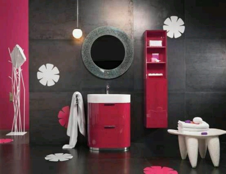 Superb Modern Pink U0026 Black Bathroom Via Home Design Ideas · Hot Pink BathroomsTeen  Girl ...