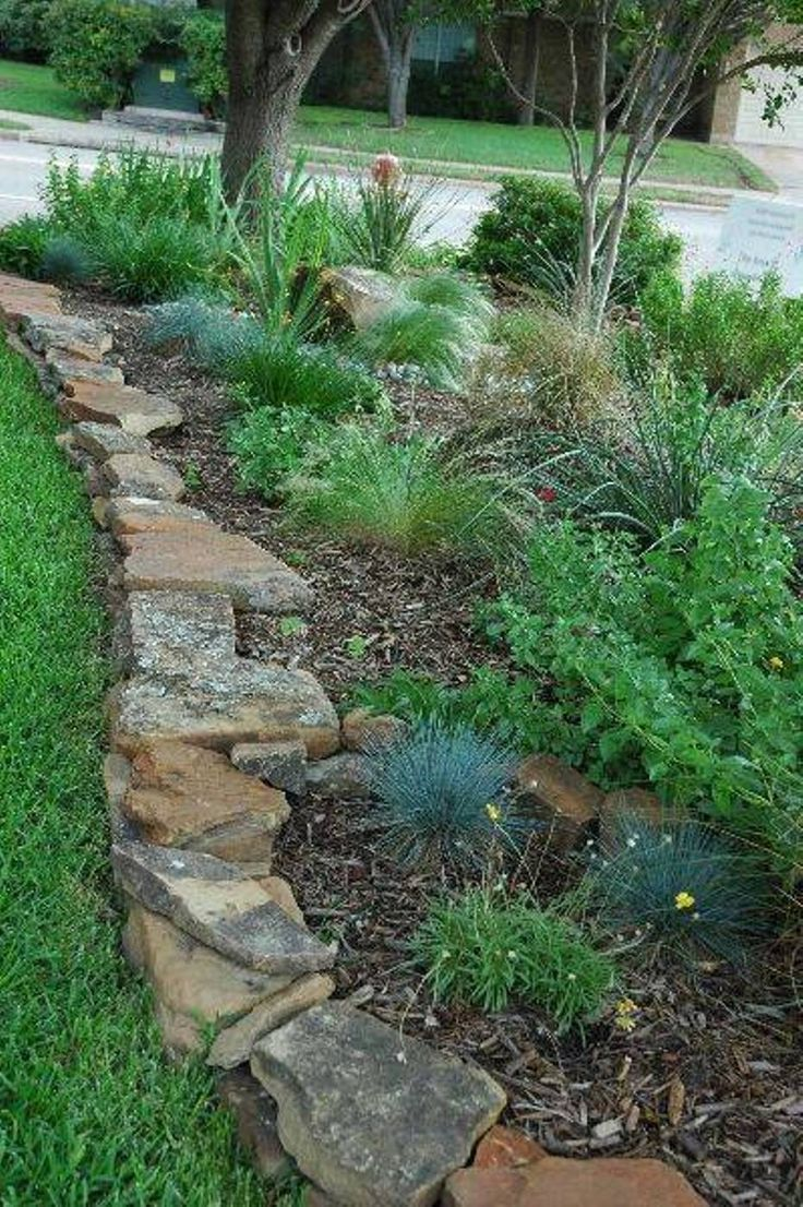 Landscaping And Outdoor Building , Natural And Beautiful Stone Borders For Landscaping : Natural  Beautiful Stone Border And Mulches