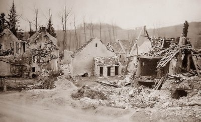 """This is a photograph of the village of Belleau, France, shortly after the Battle of Belleau Woods in World War I. This battle was one of the bloodiest for American Forces in the war. During one of the fiercest parts of the battle, French forces urged the American Marines to withdraw, to which one of the Marines gave the now-famous line, """"Retreat, Hell, we just got here."""""""