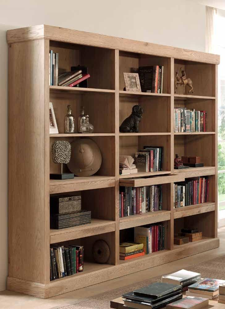 Bibliotheque Classique Chic Chene Massif 240x50x200cm Romus Chene Massif Decoration Maison Bibliotheque Chene