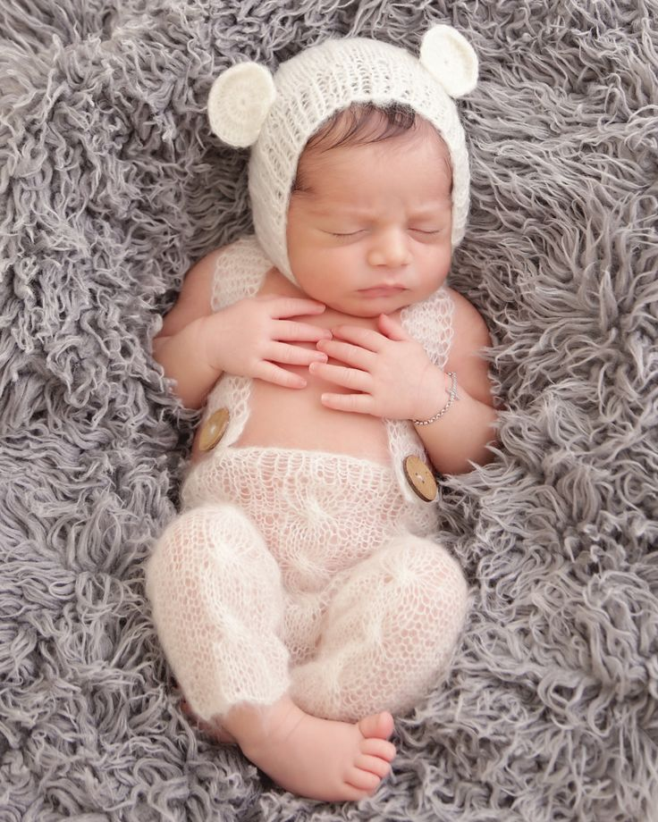 Handmade knit mohair baby cap and overall pants photo props
