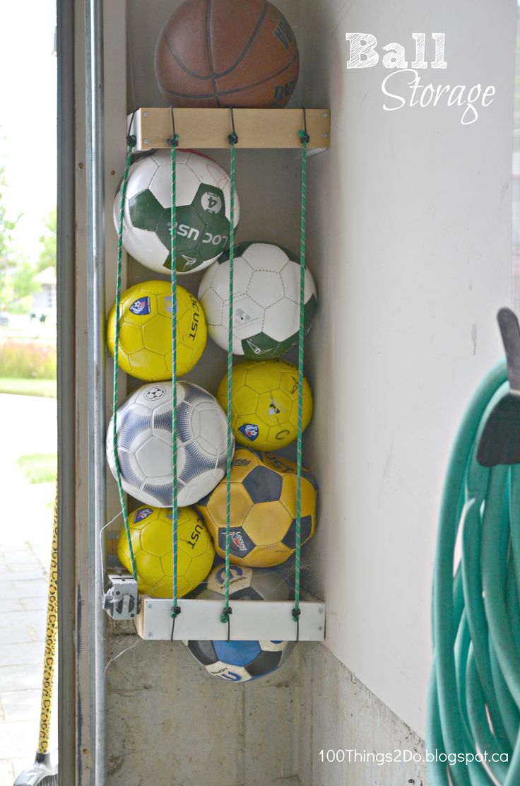 DIY sports ball storage -- 12 easy garage organization tips