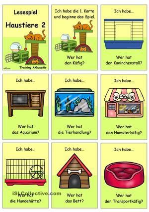 Lesespiel für die Gruppe/ Klassezum Thema Haustiere (Schwerpunkt: Unterbringung)- Sprechübung- Phrasen: Ich habe... Wer hat...?- Einüben von Phrasen & Sätzen: vorsprechen- nachsprechen- Festigung & Üben des Wortschatzes- Üben des Akkusativs- Nomen + bestimmter Artikel- NomendeklinationDazu passend gibt es folgende Materialien:-) Bildwörterbuch + AB + Wortschatzliste zur Erarbeitung:https://de.islcollective.com/resources/printables/worksheets_doc_docx&#x2F...