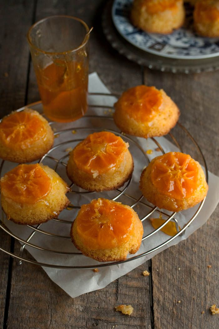 How charming is this recipe for Clementine Upside Down Cakes?! You use a cupcake pan to make them... easy! Perfect little bites for any party!
