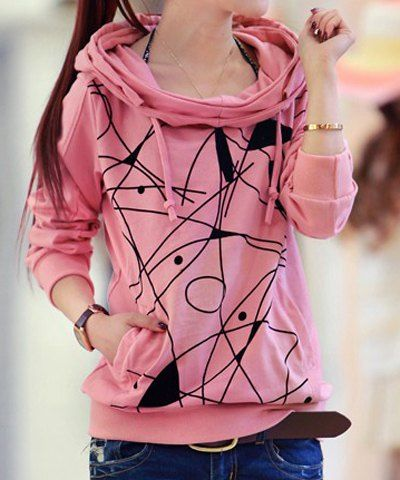 Stylish Printed Pockets Design Long Sleeve Women's Hoodie Sweatshirts & Hoodies | RoseGal.com Mobile