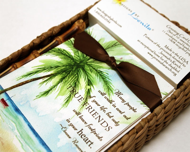 """Aloha Greeting Card Collection with a touch of the tropics. Set of 10 assorted designs. 11 watercolor textured envelopes and bamboo pen. Packaged in beautiful Eco-friendly sea grass box tied with satin bow. Perfect gift! 100% recycled paper. Each card measures 5"""" x 7"""" on watercolor textured cardstock.  www.designsbylenila.com Seagrass Box/Tray by: www.ecofriendlymarket.net Eco-FriendlyMarket Tel# (951) 674-7337 sales@ecofriendlymarket.net"""