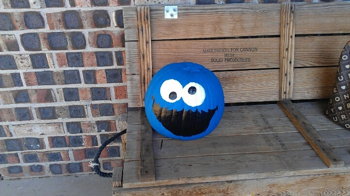 Adorable painted Cookie Monster pumpkin. I would cut out cookies & crumbs from brown cardstock also & glue it inside & on the side of his mouth