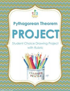 """Let students show what they have learned about the Pythagorean Theorem by illustrating a Pythagorean Theorem problem. The students really enjoyed the opportunity to do an """"art"""" project in math, and I loved seeing all of the hard work from the students!"""