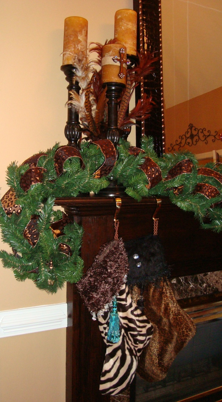 Christmas Mantel With Animal Print Stockings, Crosses And Feathers  #leopard #zebra #