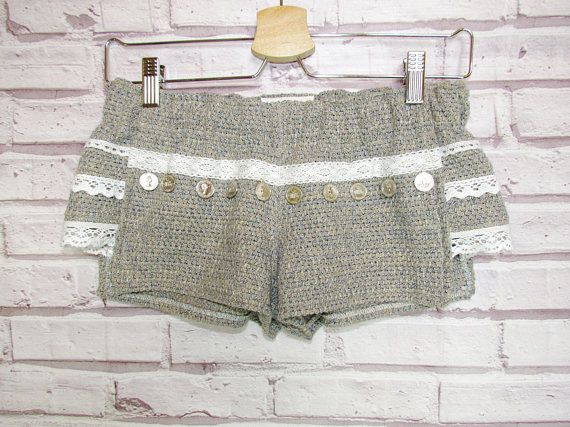 Womens shorts are made of beige-blue Italian cotton knitwear. They are very stylish and look interesting. They are decorated with cotton lace and metal hardware coins by hand. You can wear it in spring or in hot summer. Shorts look great with T-shirts, and with classic shirts, so your imagination is not limited :) Size: XS-S, girl on picture: hips 88 cm/34,6 waist 60 cm/23,6 Depending on the settings of your monitor, the color may vary. Before buying, please read the store rules. If...
