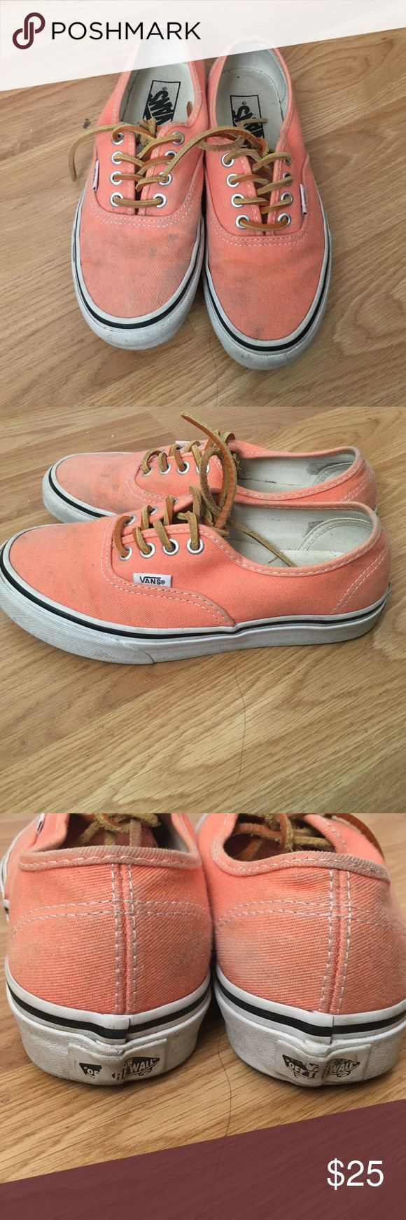 VANS coral authentic canvas Coral colored Vans, just needs a little cleaning but in good condition still Vans Shoes Athletic Shoes
