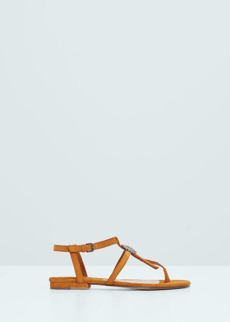 Кожаные сандалии с бахромой | MANGO МАНГО