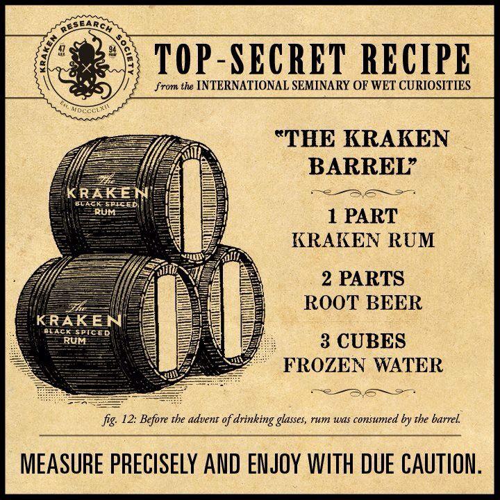 Kraken rum and root beer (sweet mixed drinks rum)