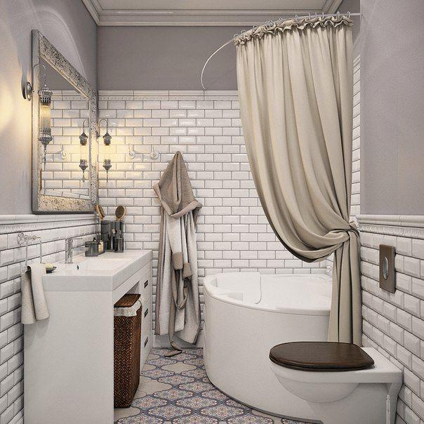 Небольшая ванная комната в стильном оформлении ⬇ Стиль, качество и красота  #дизайн #интерьер #стиль #ванная #сантехника #плитка
