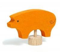 Wooden Candle holder decoration - Pig