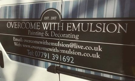 Overcome with emulsion van sign
