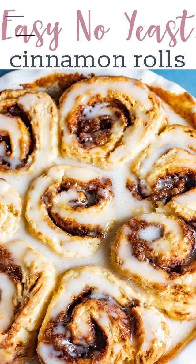 Easy Cinnamon Rolls Recipe {No Yeast - Ready in 1 Hour} - #cinnamonrolls in 2020  Easy cinnamon