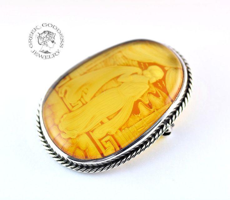 Princess of Troy amber silver locket, amber pendant, amber locket, amber brooch…