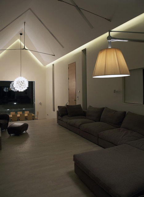 Vaulted Ceiling With Light Cove Living Room Lighting