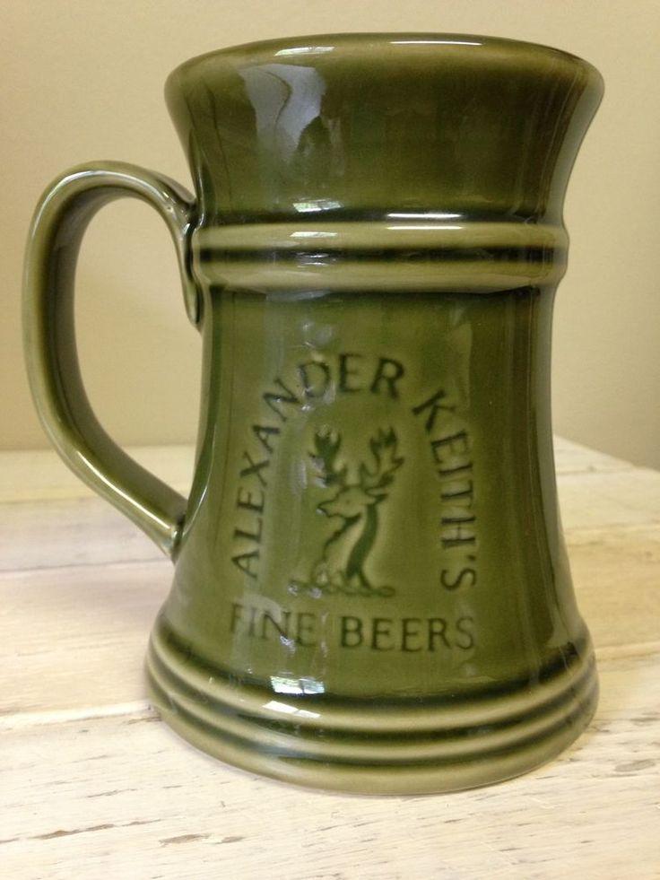 ALEXANDER KEITH'S FINE BEERS GREEN BEER MUG STEIN CERAMIC 16oz EUC
