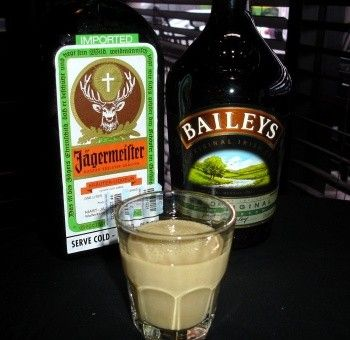 Jagermeister & Baileys together alcohol bottles with glass drink. No I don't like Jagermeister to much.