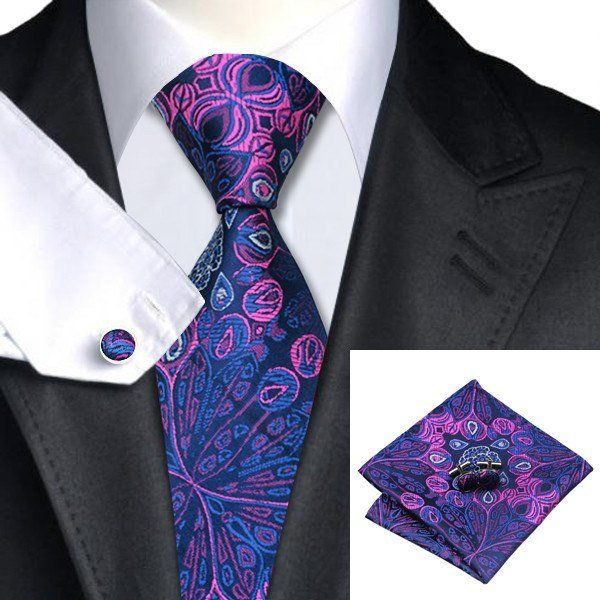 Floral Tie, Handkerchief and Cufflinks In Blue And Purple