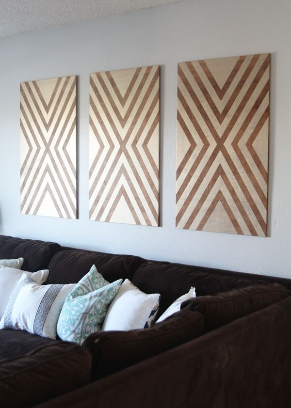 This DIY wall art is simply gorgeous. Chelsea Coulston of Making Home Base just used plywood and stain to create these bold wall hangings. Just click through for the full tutorial on The Home Depot Blog. || @chelseacoulston
