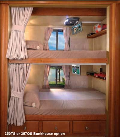 Forest River Georgetown class A motorhome bunks drop down tvs and built in shelves