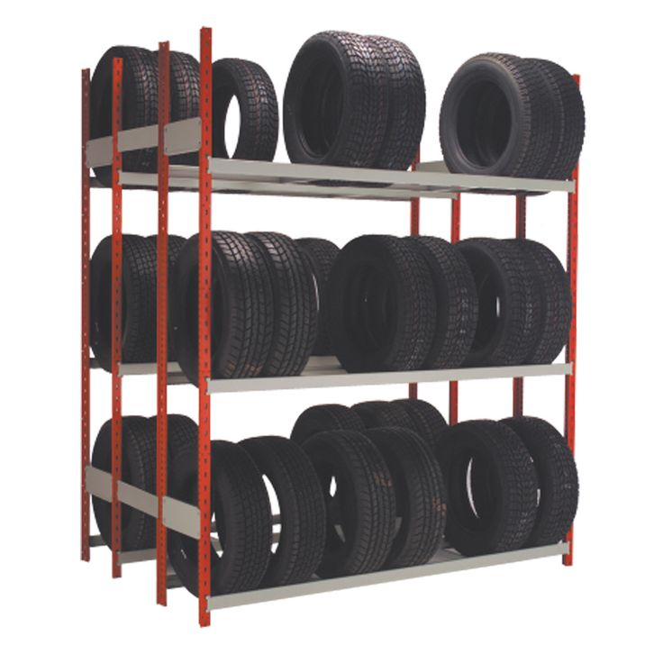 """Tire Rack (Double) : No. Shelves:6 / Width (inches):72 / Height (inches):87 / Depth (inches):15 / Net weight (lb.):273.29 / Functional design that ensures it's easy to use. / Allows for storage of popular size tires of different dimensions up to 17"""" in diameter (light truck and SUV). / Beams are constructed with a sloped surface to prevent the deformation of tires. / Versatile structure, to which a wide range of accessories can be added. / 340 lb capacity per pair of beams."""