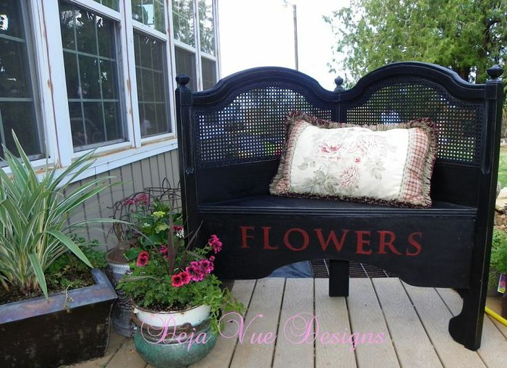 Headboard turned garden bench - great recycle project.