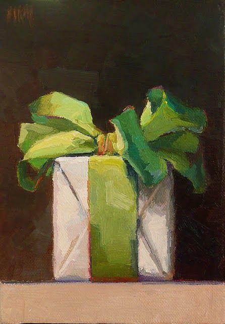 green & white karen appleton-love her  paintings