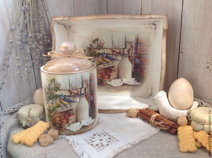 """Купить Набор для кухни """"Утро в деревне"""" - коричневый, Декупаж, набор для кухни, поднос для завтрака, поднос"""