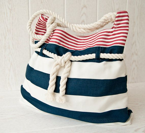 Great tote! nautical beach bag in red white and blue by VanKirsch @ Etsy