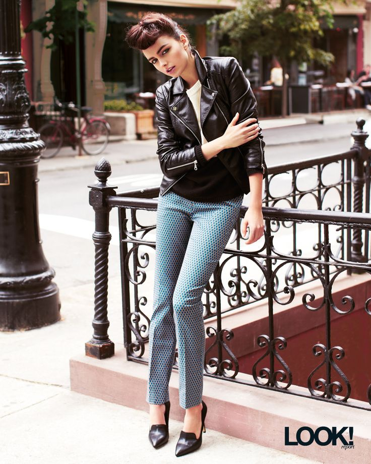 Printed pants with a leather jacket – what a great mix!