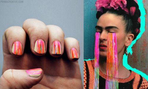 Frida: Nails Style, Cute Nails, Wedding Nails, Apparel California, Nails Pens, Awesome Inspiration, Paintings Drip, Bright Nails, Paintings Nails