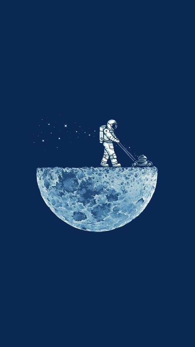 ↑↑TAP AND GET THE FREE APP! Art Creative Space Stars Funny Astronaut Moon Minimalistic HD iPhone Wallpaper