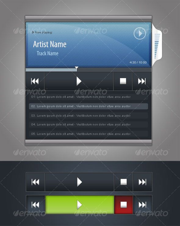 Audio Player GUI - #User #Interfaces #Web #Elements Download here: https://graphicriver.net/item/audio-player-gui/36710?ref=alena994
