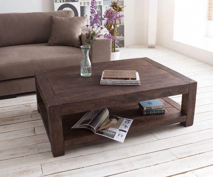 Couchtisch Akazie Tabak 120x80cm mit Ablage Sandbestrahlt Möbel Tische Couchtische