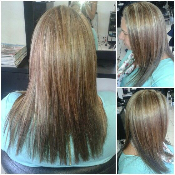 Red and blonde highlights #duethairdesign